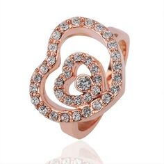 Rose Gold Plated Ring Heart Swarovski Elements Ring