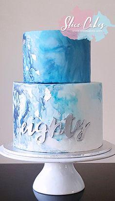 Blue watercolour 80th birthday cake www.slicecakes.com