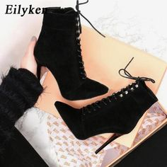 Lace up ankle boots black high heels for women - Women Bridal Wedding Shoes Faux Silk Satin Rhinestone Crystal Shallow Woman Pumps High Heel - Lace Up High Heels, Lace Up Ankle Boots, Black High Heels, High Heel Boots, Womens High Heels, Heeled Boots, Lace Up Booties, Leather Booties, Pumps Heels