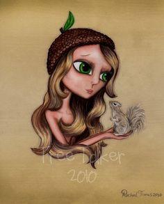 Mixed Media Drawing- Girl and Squirrel- Cute Girl Art- 8x10 Print- Mixed media art woodland animal friend painting, $16