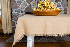 """Deluxe Burlap Natural Tan Table Cloth - Top Quality """"Olivia's Heartland"""" Brand Cotton Soft Burlap is a high grade material thicker than other manufacturers, with reinforced stiching. Our Burlap Table Cloth measures and is finished with fringed edging. Burlap Tablecloth, Outdoor Dining Furniture, Living Furniture, Furniture Design, Furniture Ideas, Rustic Fabric, Wedding Tablecloths, Natural Tan, Primitive"""
