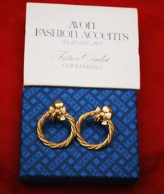 Avon Gold Earrings Festive Circlet clip on by serendipitytreasure