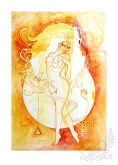 Leo Zodiac Goddess / Lion Zodiac / Star Sign / Fire by SoulBirdArt