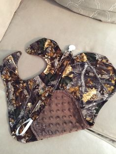 Reversible Flannel Camouflage Bib, Burp Cloth, Pacifier Holder with Brown Minky Dot.