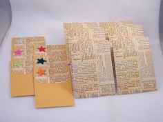 6 Blank Decorated Cards & Matching Envelopes - Repurposed Paper and Felt Stars. $3.75, via Etsy.