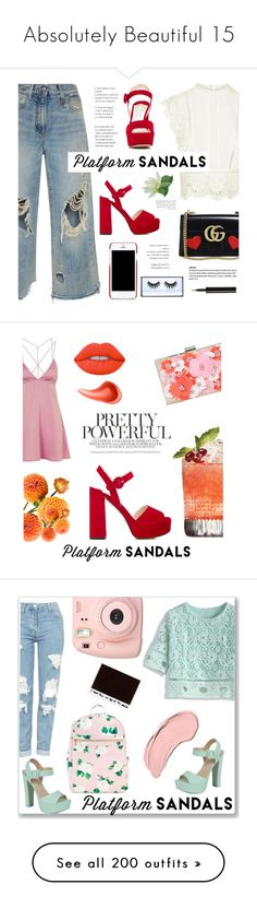"""""""Absolutely Beautiful 15"""" by nmiller526 ❤ liked on Polyvore featuring Gucci, Topshop, R13, Dolce&Gabbana, Huda Beauty, Lancôme, Prada, platforms, New Look and Lime Crime"""