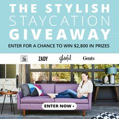 Enter the Stylish Staycation Giveaway worth $2,800 from @Apt2B, @Zady, @Glassful, and @Gentsco!