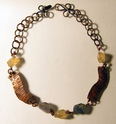 Stone copper necklace statement dark brown by BaccaraJewelry, $78.00