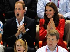 2012 The Duke and Duchess of Cambridge cheer on Team GB as they watch the swimming competitions at the London 2012 Olympic Games.