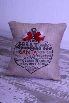 Christmas ornament burlap pillow by MonMellDesigns on Etsy