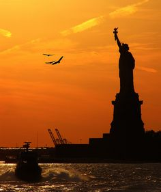 Sharing a sunset with Lady Liberty in New York Harbor My Liberty, Statue Of Liberty, Day List, New York Harbor, Beautiful Sunrise, All Over The World, Places Ive Been, The Good Place, Nyc