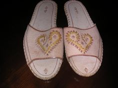 Woman's  Leather Slippers Size 6-7 by MonkeyCatBoutique on Etsy