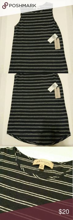 NWT Philosophy B&W tank. NWT 100% linen Philosophy black and white stripped tank. This tank could work with a suit, peddle pushers, cargo pants...basically anything, it's a well made, great classic wardrobe staple. Philosophy Tops Tank Tops