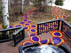 Artist Carol Hummel practiced knitting as graffiti for a large-scale public art installation