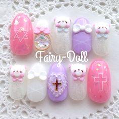 アレンジオーダー♡* #ネイルチップ #ネイルアート #ネイル #nail #オーダーネイル #くまちゃん Acrylic Nail Art, 3d Nail Art, Acrylic Nail Designs, Cool Nail Art, Cute Gel Nails, Glam Nails, 3d Nails, Asian Nail Art, Asian Nails