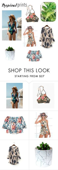 """""""Tropical prints"""" by dianthesiva ❤ liked on Polyvore featuring Topshop, Beach Riot, Elizabeth and James, Barclay Butera, Summer, Swimsuits, tropicalprints and hottropics"""