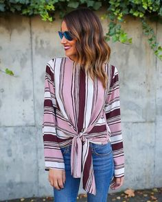 Rooney Striped Knot Top