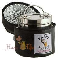 Happy Tiffin, Black Insulated Tiffin Carrier Bag - Large