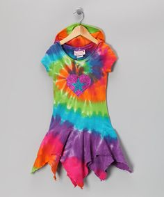 Take a look at this Rainbow Tie-Dye Handkerchief Dress - Toddler & Girls by Kash Ten on #zulily today!