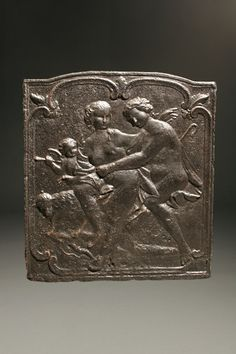 Early 18th century French cast iron fireback with lovers, cupid and lamb. Circa 1720. #antique #fireback