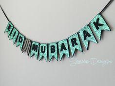 Eid Mubarak Glitter Banner by Shaestas Designs on Etsy