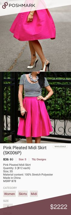 COMING SOON! Pink pleated midi skirt COMING SOON! NEW! Pink pleated midi skirt. On trend and ready for spring. Size small 100% stretch polyester. NEW BOUTIQUE ITEM Will drop price upon arrival T&J Designs Skirts Midi