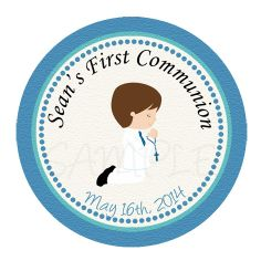 First communion  label and  favor tag -  First communion sticker - first communion  Cupcake Topper - choose complexion & hair color