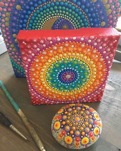 Mandala Stones. Hand painted ocean stone. Dot Art. Dotillism. Dot. Painting.