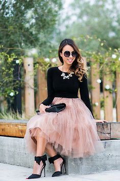 blush pink tulle skirt with sassy black bowed heels, styled @laceandlocks