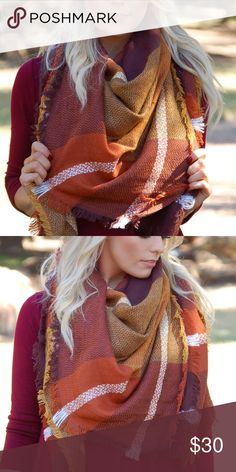 Large Blanket Scarf in Rust Burgundy Brown This large blanket scarf is one of the most popular items of the season! There are many ways to wear this staple piece, so the options are endless! It's great for the cold weather, so get it now before the harshest part of the winter hits! Also available in other colors, so check out my closet! Paperback Boutique Accessories Scarves & Wraps