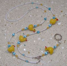 Yellow Ducks Lampwork Bead Lanyard ID Badge by ArtisticTouches, $25.00