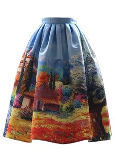 Village Painting Pleated Midi Skirt - Retro, Indie and Unique Fashion