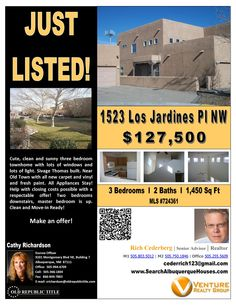 1523 Los Jardines Pl NW near Old Town has 3 bedrooms, 2 baths, a 1 car garage and is being offered for sale at $127,500.