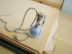 Stardust Glass Bottle Necklace  Bulb Flask Glass by RedQueenMisc