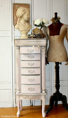 Vintage Luxury Pink Faux Painted Jewelry Armoire