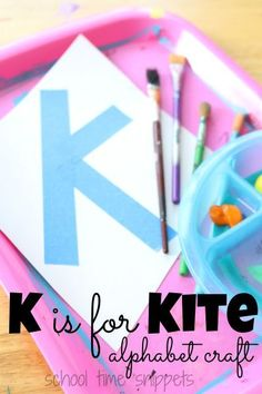 Today we are sharing a new preschool alphabet craft for the Letter K. Whether you do letter of the week lesson plans, or just craft as you feel like it {like we do}, learn about the letter k with our K is for Kite alphabet craft. Letter K Preschool, Letter K Crafts, Alphabet Crafts, Alphabet For Kids, Letter Activities, Preschool Activities, Preschool Readiness, Letter K Kite, Kites Craft