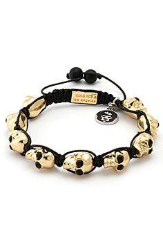 King Ice Gold Multi Skull Shamballa Style Bracelet