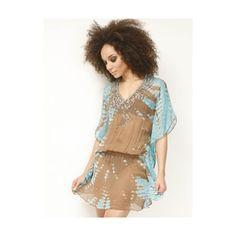 Tye Dye Kaftan in Brown/Turquoise by Kareena at Pesca Boutique. - Price: $209.00