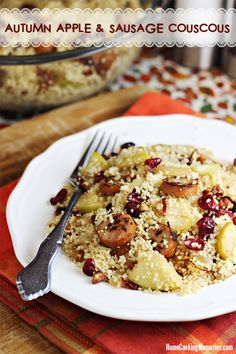 Autumn Apple & Sausage Couscous -- an easy dinner idea for fall