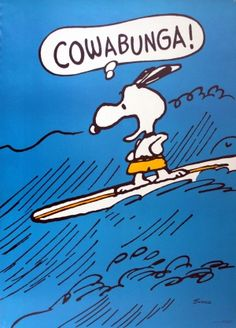 Snoopy Surfing, 1960s - original vintage poster by Charles M. Schulz listed on AntikBar.co.uk