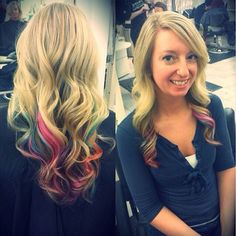 dip-died ends of hair with pink, teal, copper and purple after completing highlights.
