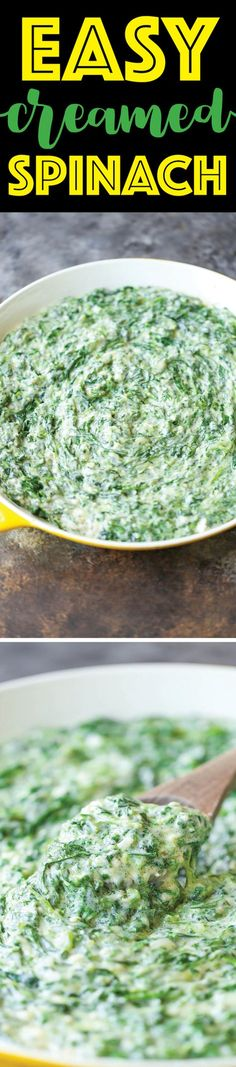 Easy Creamed Spinach - This will be the only creamed spinach recipe you will ever need. So creamy, cheesy and EASY PEASY! 10000x better than store-bought!