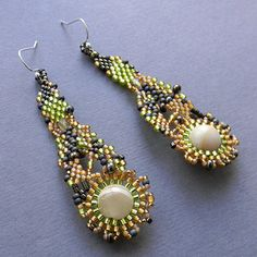Gold Olive and Brown  freeform beaded earrings by Anabel27shop  #freeform #free form #peyote #earrings #beadwork #beadweaving