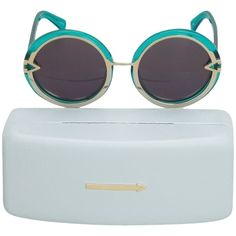 Pre-owned Karen Walker Turquoise Blue Round Orbit Sunglasses (€210) ❤ liked on Polyvore featuring accessories, eyewear, sunglasses, blue, turquoise, karen walker, karen walker sunglasses, blue lens sunglasses, blue glasses and round lens sunglasses