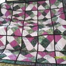 quilt as you go Crazy Quilt - (apparently I'm drawn toward black sashing) Love these colors
