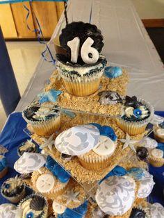 Sweet sixteen beach themed cupcakes