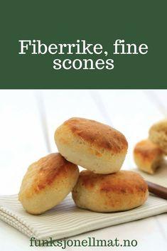 Fine scones - Funksjonell Mat | Oppskrift scones | Sukkerfri oppskrift | Sunn mat | Sukkerfri snack Scones, Hamburger, Healthy Recipes, Dessert, Snacks, Drinks, Drinking, Appetizers, Beverages