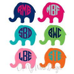 Preppy Elephant Car Monogram by OhMyWordDesigns on Etsy, $10.00