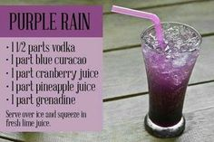 Purple Rain -- a great drink for watching a Ravens game Liquor Drinks, Cocktail Drinks, Purple Cocktails, Purple Drinks Alcohol, Blue Curacao Drinks, Alcoholic Beverages, Purple Signature Drinks, Mixed Drinks Alcohol, Cocktail Night