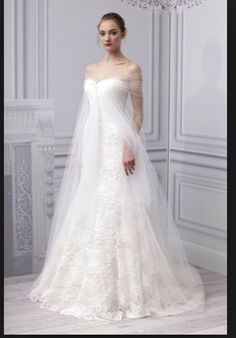 Crinoline drape lace gown
